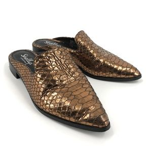 Shellys London bronze croc pointed toe mules 37